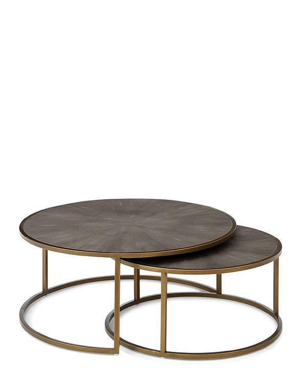 Ginny Round Shagreen Brass Nesting Coffee Tables