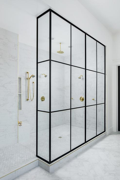 Shower for 2 with Multiple Antique Brass Shower Heads ...