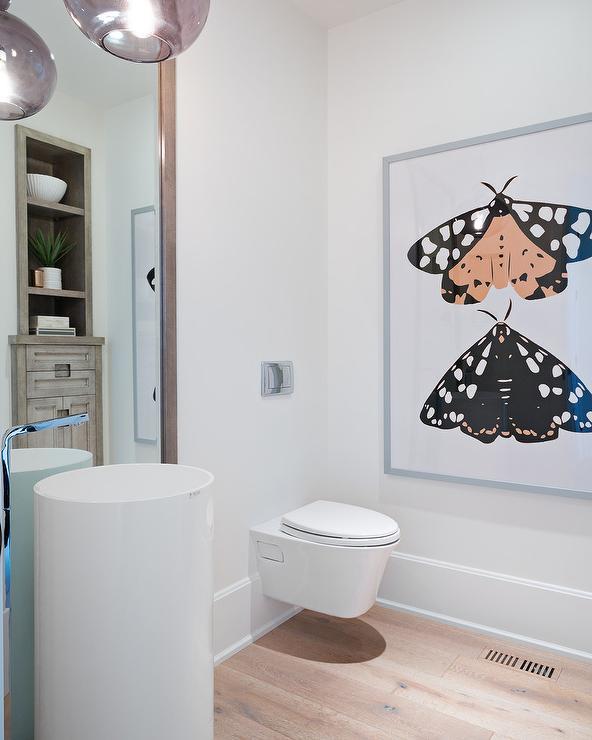 Modern Freestanding Pedestal Sink with Gray Floor Mirror ...