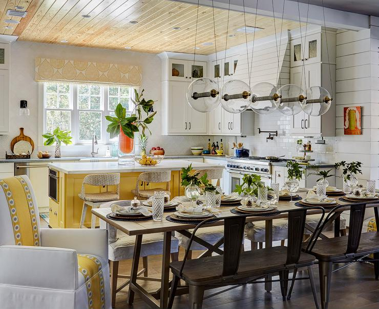 Yellow Kitchen Island With White Cabinets Cottage