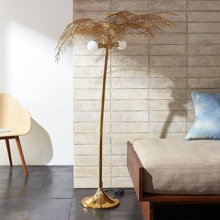 Ocean Palm Gold Metal Floor Lamp