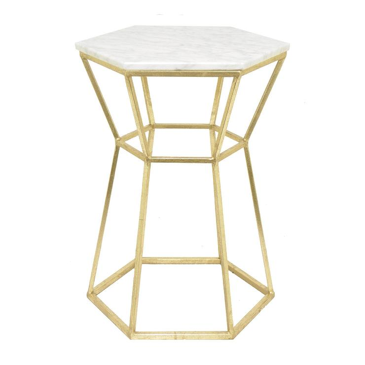 Three Hands Goldtone Metal Marble Hexagonal Side Table - Hexagon marble coffee table