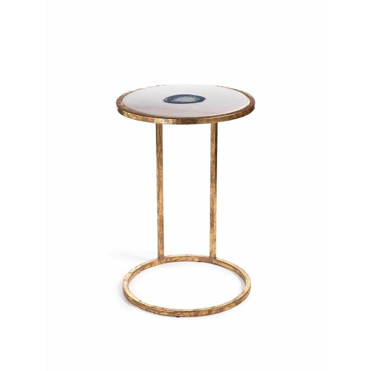 Zodax High Aquarius Agate Marble Inlay Accent Table