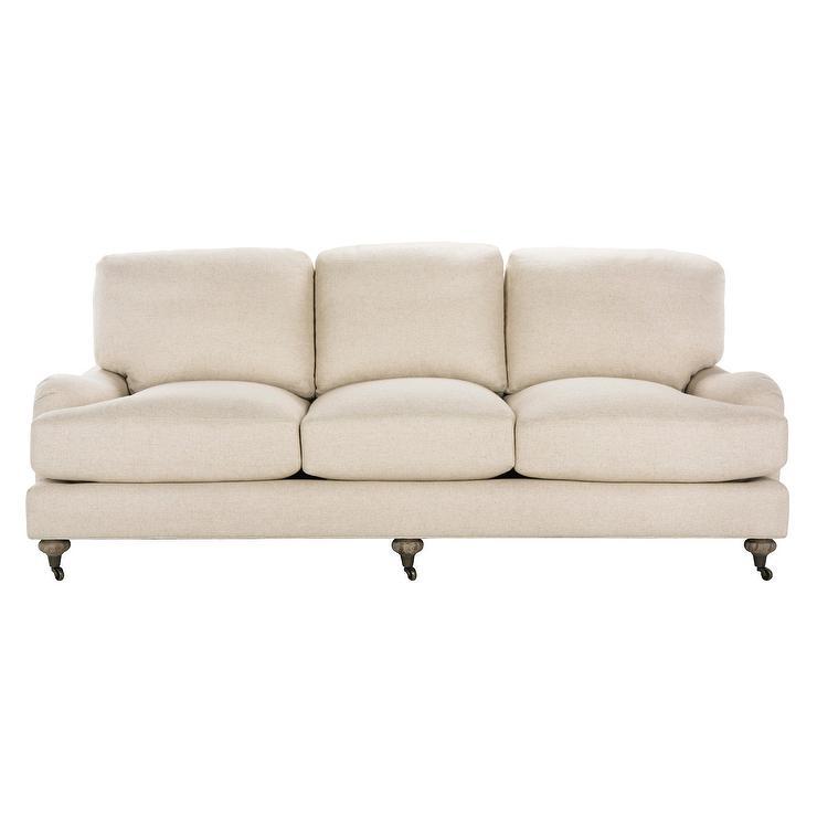 Safavieh Calvin Oak Natural Linen Turned Legs Sofa