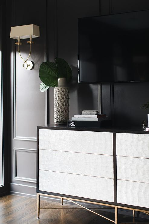 Black And White Credenza With White Capiz Drawers