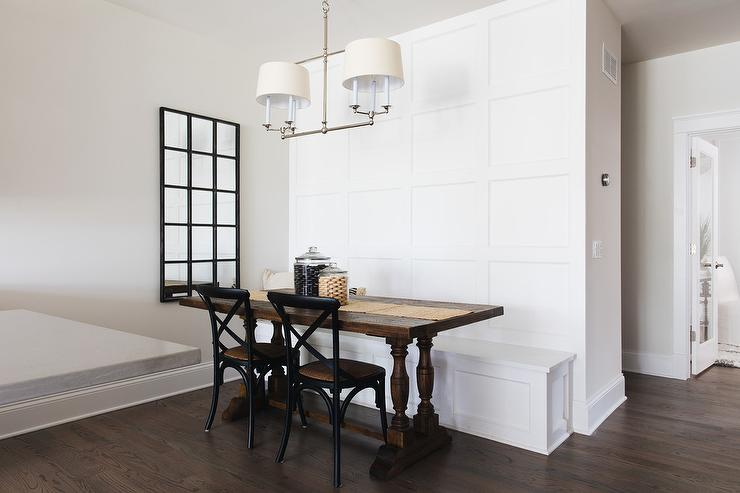 dining room table with bench against wall.  Balustrade Dining Table Seating Two Black French Cafe Chairs Facing A White Built In Bench Accented With Wainscoting And Fixed Against Wainscot Wall Dining Bench Design Ideas