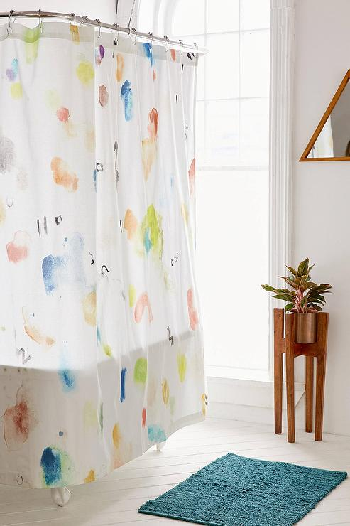 Colorful Painterly Marks Cotton Shower Curtain