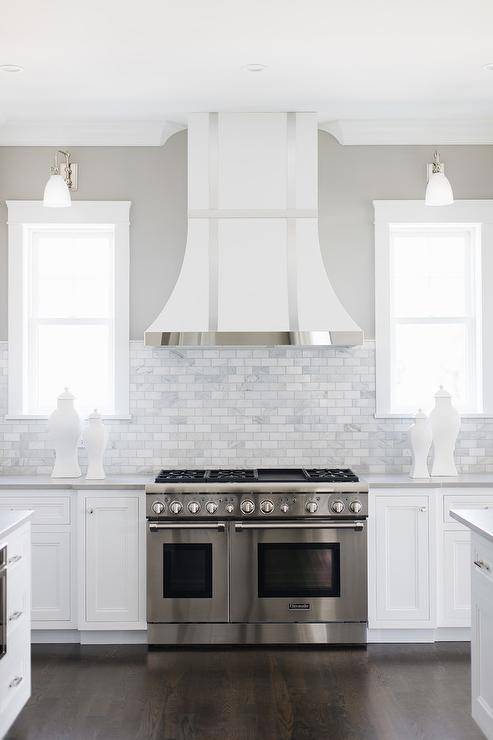 Awesome White French Range Hood With Stainless Steel Trim Interior Design Ideas Inesswwsoteloinfo