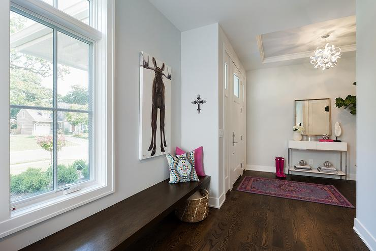 Long Floating Bench Next to Front Door & Long Floating Bench Next to Front Door - Transitional - Entrance/foyer