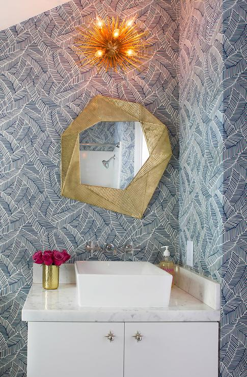 Asymmetrical Sink Vanity On Full Length Mirror