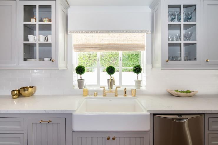 Dove Gray Shiplap Cabinets With Farmhouse Sink Transitional Kitchen