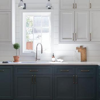 White Top Cabinets And Blue Bottom Cabinets Design Ideas