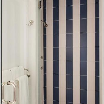Vertical blue striped shower surround tiles design ideas for Blue and white striped bathroom accessories
