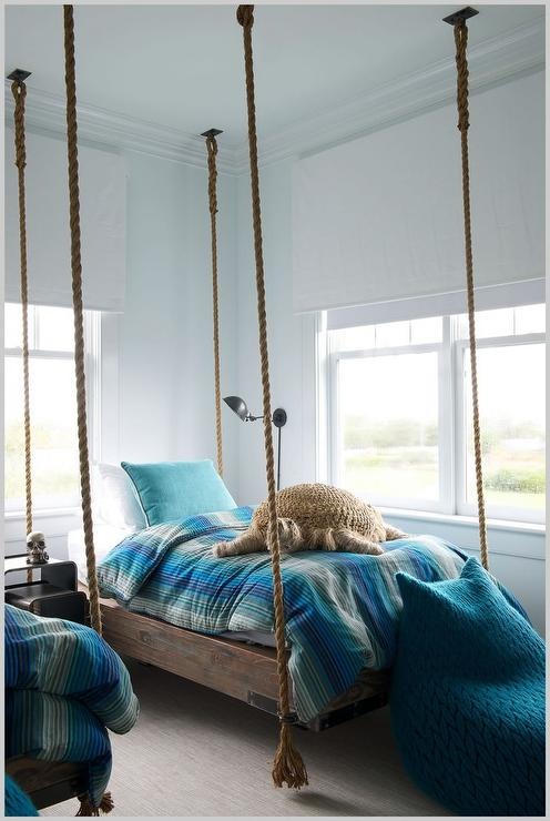 Wood and Rope Hanging Bed with Blue Bedding - Cottage ...