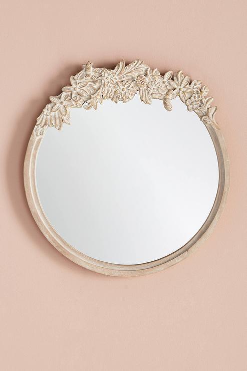 Birds Nest Round Carved Fl Mirror, Carved Wooden Round Mirror