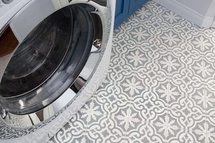 Contemporary Laundry Room Featuring Gray And White Snowflake Cement Floor  Tiles Complimenting Gray Walls Upgraded With A White Front Load Washer And  Dryer ...