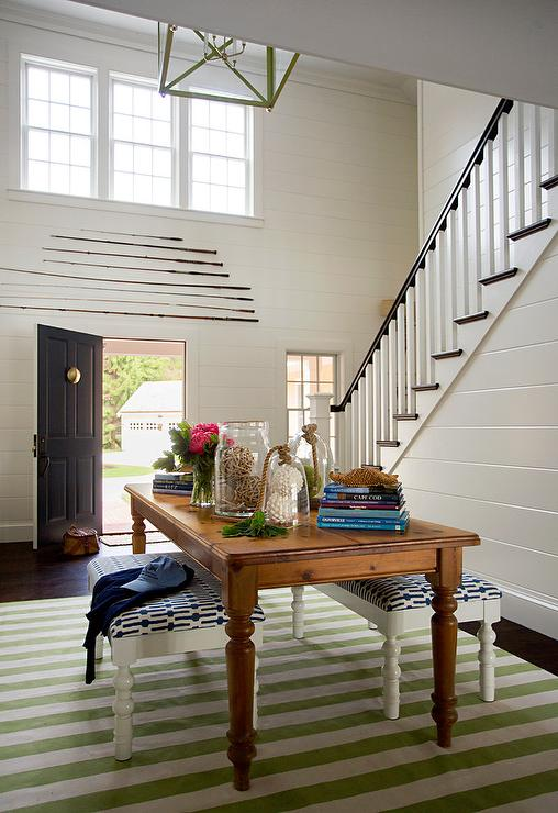 Farmhouse Table With Green Striped Rug