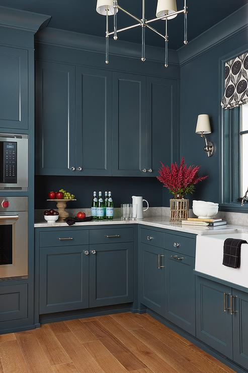 Dark Blue Shaker Cabinets with Glass Chandelier ...