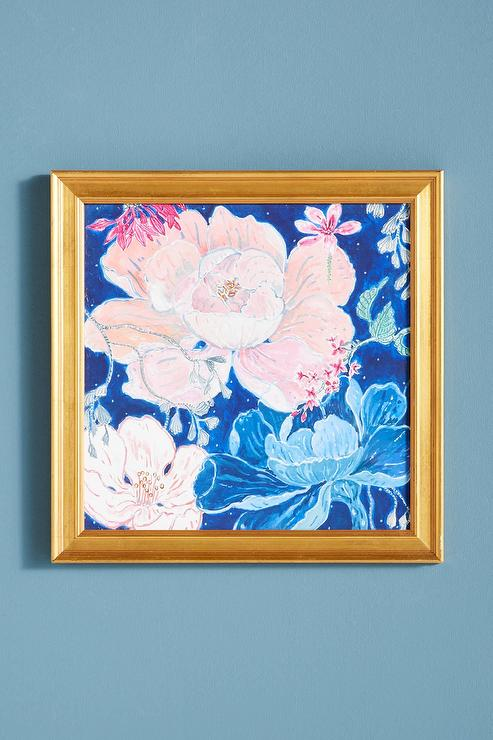 Blue Blush Floral Gold Framed Wall Art