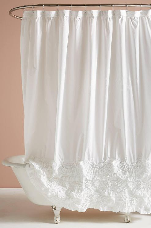 Rivulets White Cotton Ruffled Shower Curtain