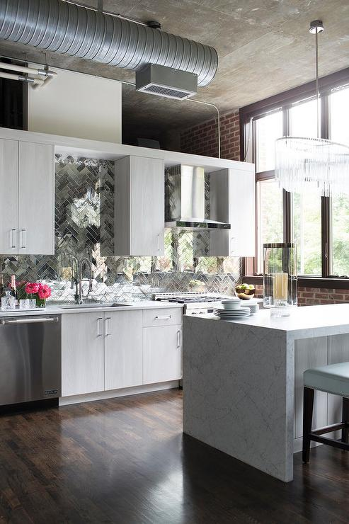 Loft Kitchen With Glossy White Lacquered Cabinets Contemporary