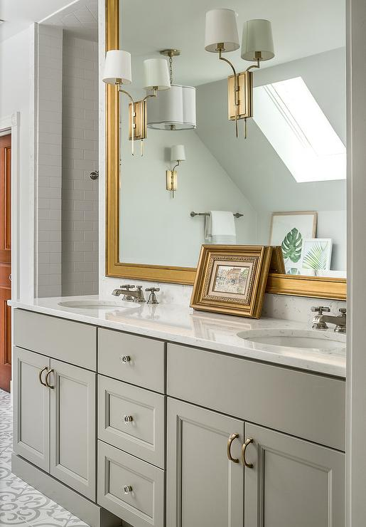 White And Gold Marble Trellis Tiles Transitional Bathroom
