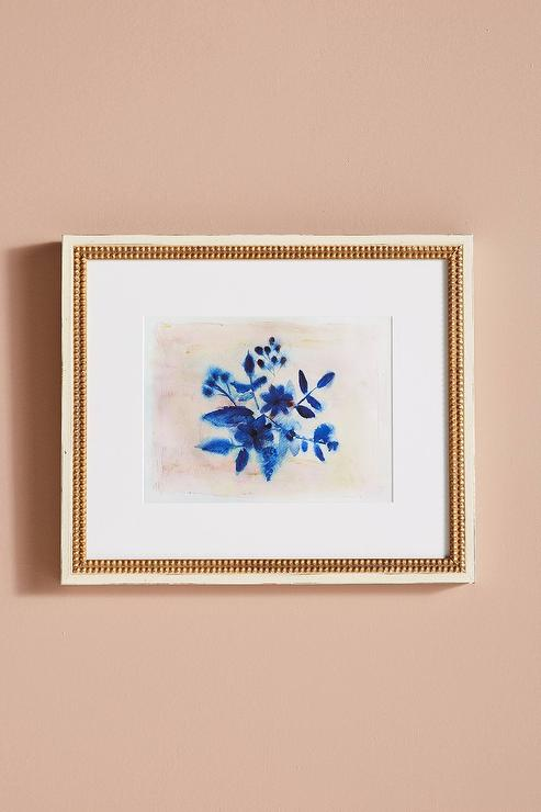 Indigo Bouquet Gold Frame Wall Art