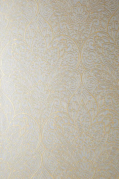 Hygge And West Gold Carved Ogee Gray Wallpaper