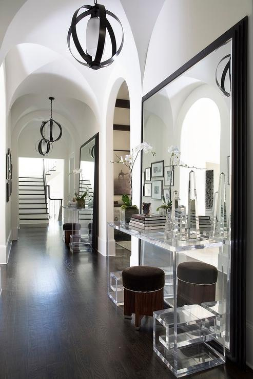 Contemporary Foyer Mirrors : Mirrored foyer table contemporary entrance