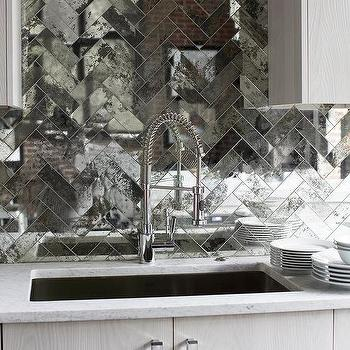 Mirrored Herringbone Backsplash Tiles