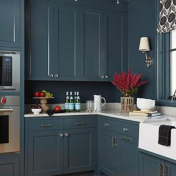 Dark Blue Shaker Cabinets With Glass Chandelier