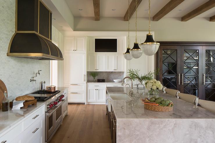 Built In TV Niche Over Kitchen Cabinets - Transitional - Kitchen