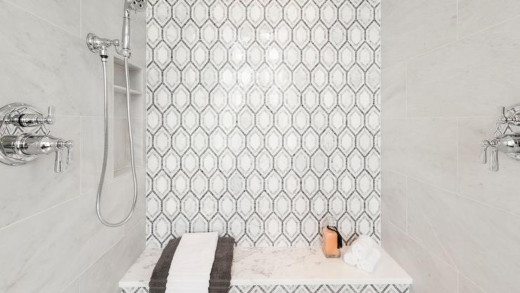 Gray Mosaic Tiles On Shower Accent Wall Transitional