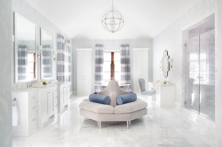 Master bath glass french doors to balcony transitional for Master bathroom ottoman