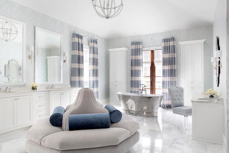 Light blue dual bath vanity with carrera marble for Master bathroom ottoman