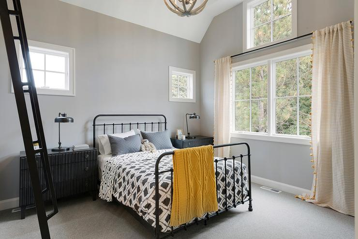 Black and White Boy bedroom with Yellow Pom Pom Curtains ...