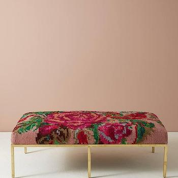 Gold Floral Ottoman