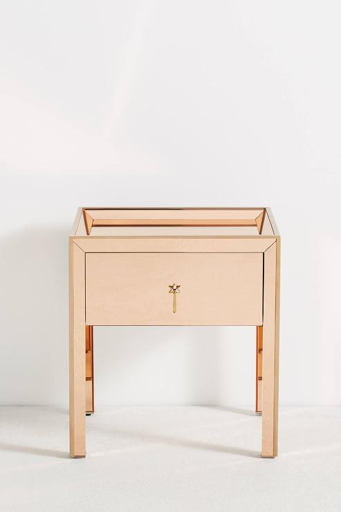 Gracemere Rose Gold Mirrored Nightstand, Rose Gold Mirrored Furniture