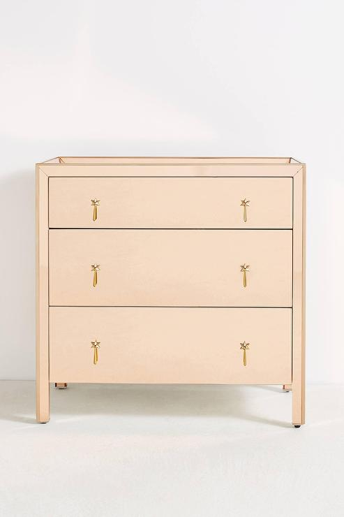 Gracemere Mirrored 3 Drawer Rose Gold, Rose Gold Mirrored Furniture