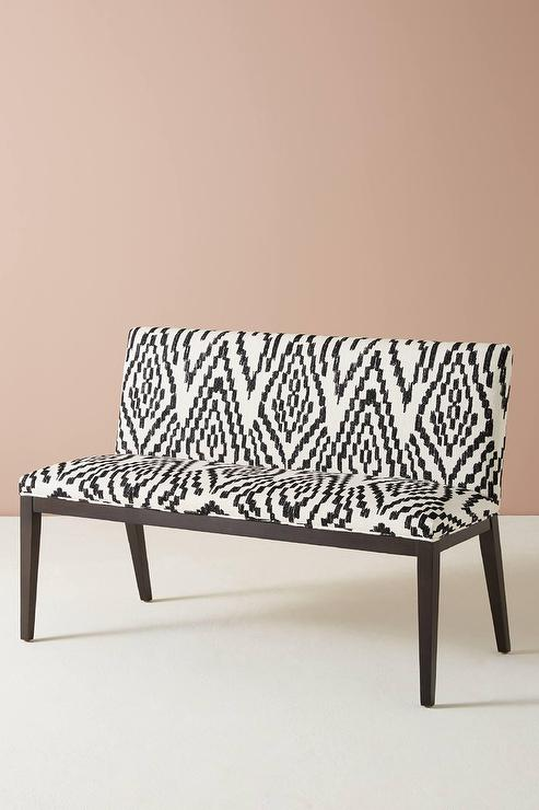 Peachy Maura Printed Emrys Black White Bench Inzonedesignstudio Interior Chair Design Inzonedesignstudiocom