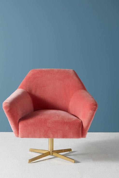Almere Pink Velvet Angular Swivel Chair