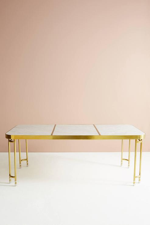 Parabola Brass White Marble Dining Table