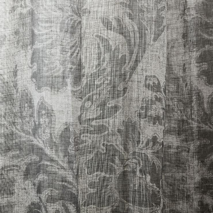 Zara Home Blurred Damask Print Gray Linen Curtain