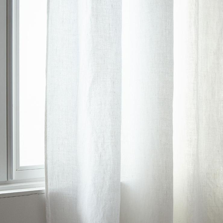 Zara Home White Faded Linen Curtain