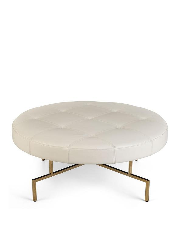 Pleasing Malta Round White Tufted Leather Brass Ottoman Bralicious Painted Fabric Chair Ideas Braliciousco