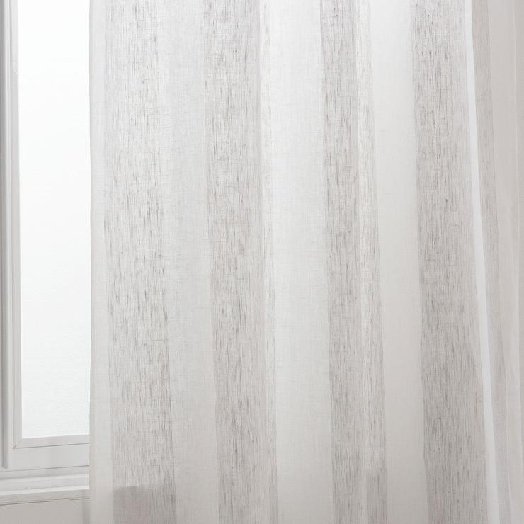 Zara Home Gray White Striped Polyester Curtain