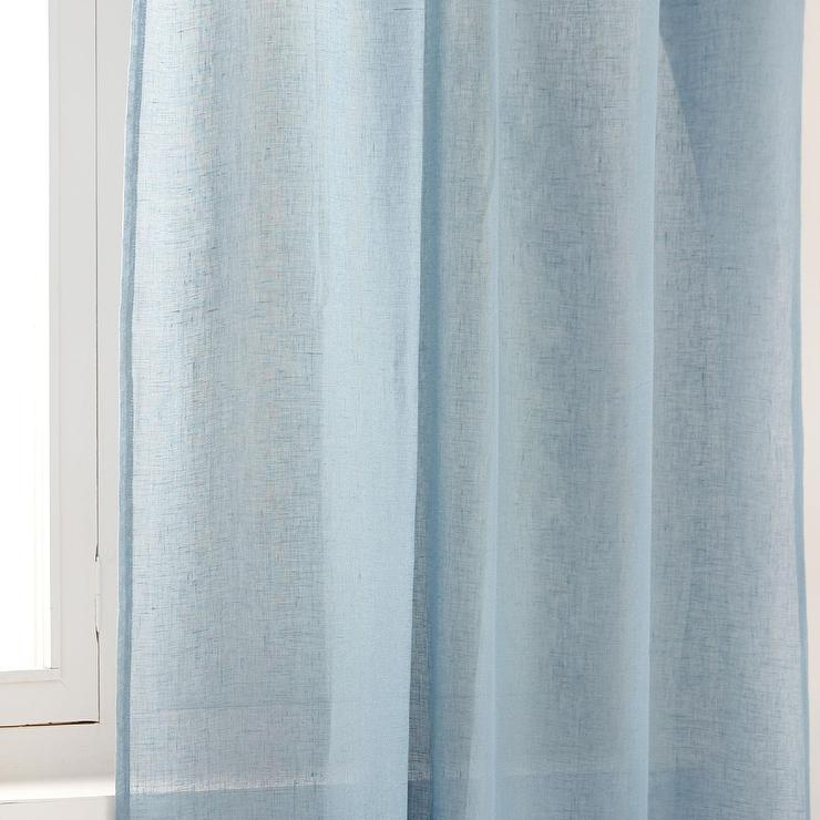 Sheer Linen Window Panel Regal Blue West Elm