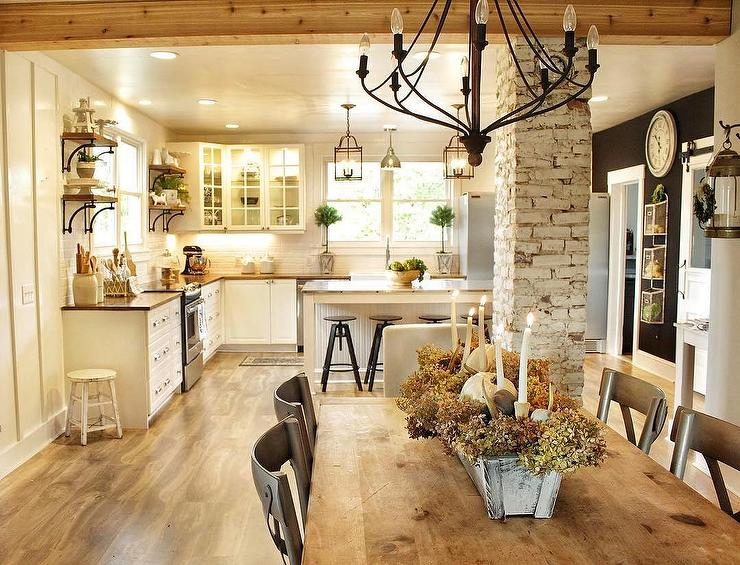 Country White Brick Wooden Farmhouse Kitchen