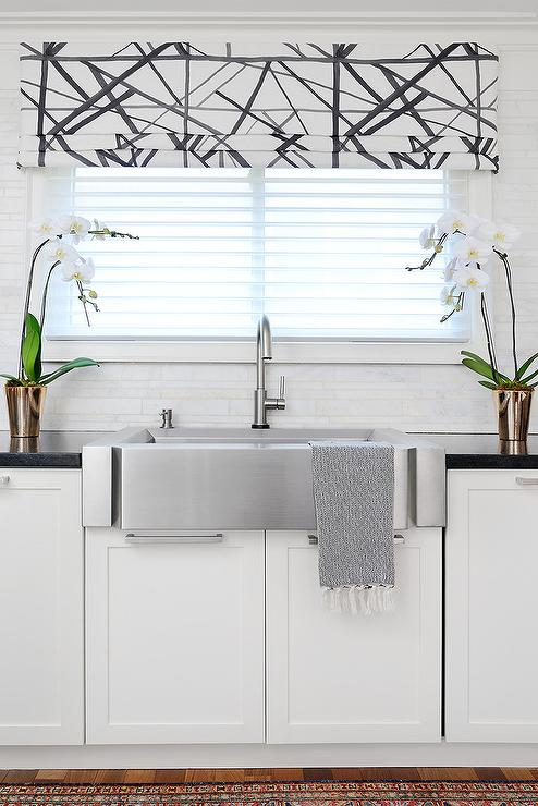 Black And White Roman Shade Transitional Kitchen