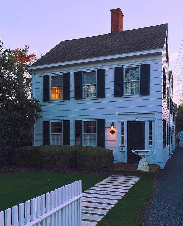 Traditional 2 Story White Siding Black Shutters Colonial House